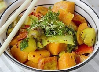 Wok vegetariano de verduras al curry